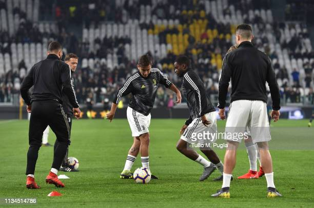 Paulo Dybala of Juventus in action during the warmup before the Serie A match between Juventus and Udinese at Allianz Stadium on March 08 2019 in...