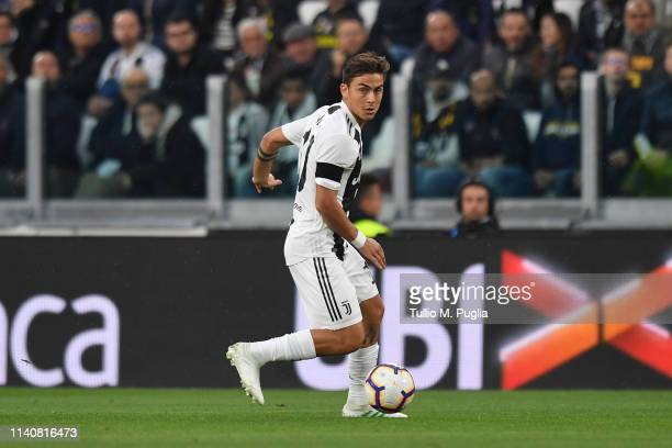 Paulo Dybala of Juventus in actiopn during the Serie A match between Juventus and AC Milan on April 06 2019 in Turin Italy