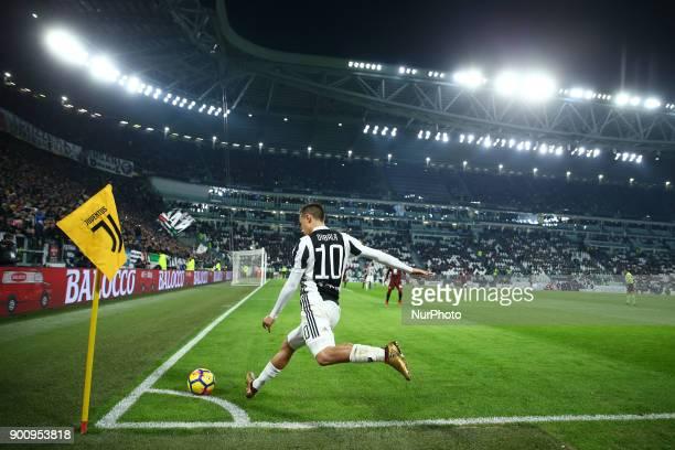 Paulo Dybala of Juventus kicking a corner kick during the TIM Cup match between Juventus and Torino FC at Allianz Stadium on January 3 2018