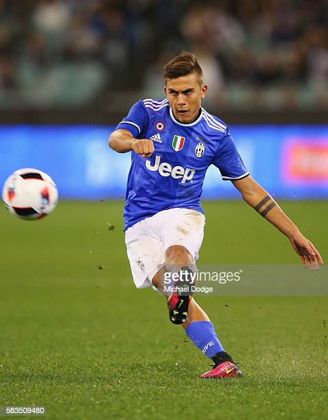 Paulo Dybala of Juventus kicks the ball during the 2016 International Champions Cup match between Juventus FC and Tottenham Hotspur at Melbourne...