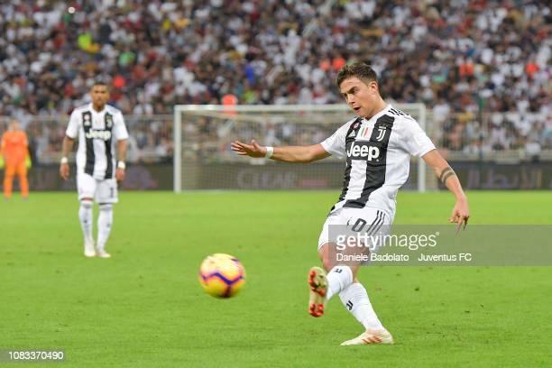 Paulo Dybala of Juventus kicks the ball during the Italian Supercup match between Juventus and AC Milan at King Abdullah Sports City on January 16...