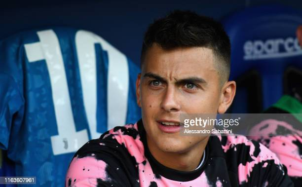 Paulo Dybala of Juventus looks on during the Serie A match between Parma Calcio and Juventus at Stadio Ennio Tardini on August 24 2019 in Parma Italy