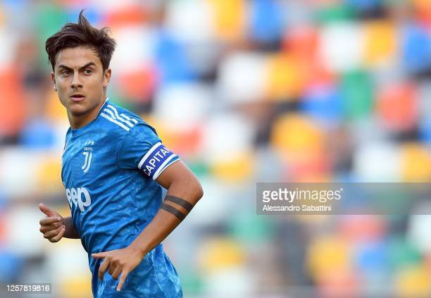 Paulo Dybala of Juventus looks on during the Serie A match between Udinese Calcio and Juventus at Stadio Friuli on July 23 2020 in Udine Italy