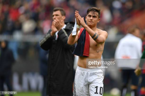 Paulo Dybala of Juventus salutes fans at the end of the Serie A match between Genoa CFC and Juventus at Stadio Luigi Ferraris on March 17 2019 in...
