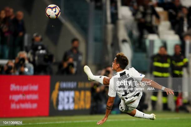 Paulo Dybala of Juventus scores a goal to make it 10 during the Serie A match between Juventus and Bologna FC at Allianz Stadium on September 26 2018...