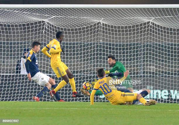 Paulo Dybala of Juventus scores hids team's second goal during the serie A match between Hellas Verona FC and Juventus at Stadio Marc'Antonio...