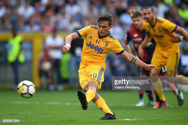 Paulo Dybala of Juventus scores his goal from the penalty spot during the Serie A match between Genoa CFC and Juventus at Stadio Luigi Ferraris on...