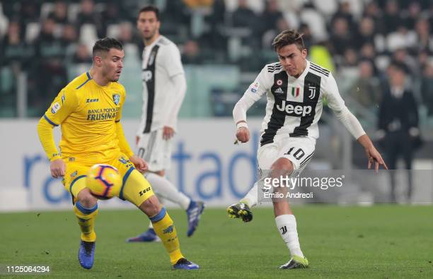 Paulo Dybala of Juventus scores the opening goal during the Serie A match between Juventus and Frosinone Calcio at Allianz Stadium on February 15...