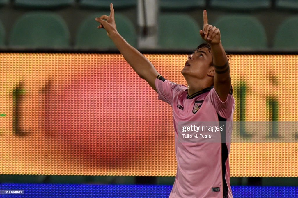 Paulo Dybala of Palermo celebrates after scoring the opening goal during the Serie A match between US Citta di Palermo and UC Sampdoria at Stadio Renzo Barbera on August 31, 2014 in Palermo, Italy.