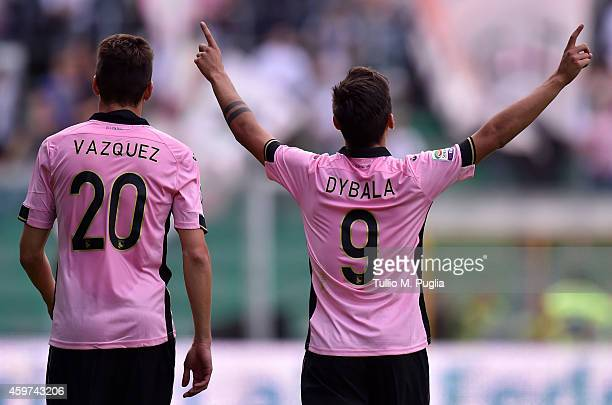 Paulo Dybala of Palermo celebrates with Franco Vazquez after scoring the opening goal during the Serie A match between US Citta di Palermo and Parma...