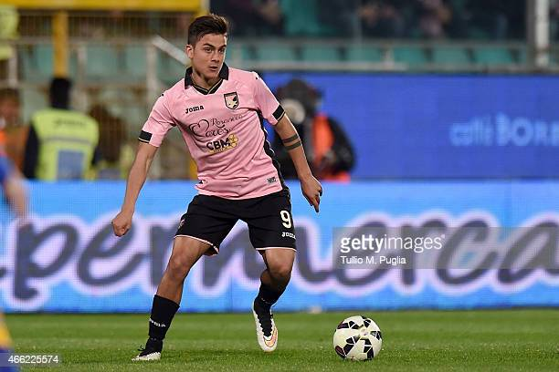 Paulo Dybala of Palermo in action during the Serie A match between US Citta di Palermo and Juventus FC at Stadio Renzo Barbera on March 14, 2015 in...