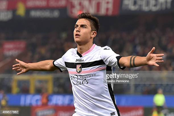 Paulo Dybala of US Citta di Palermo celebrates after scoring the opening goal during the Serie A match between Genoa CFC and US Citta di Palermo at...