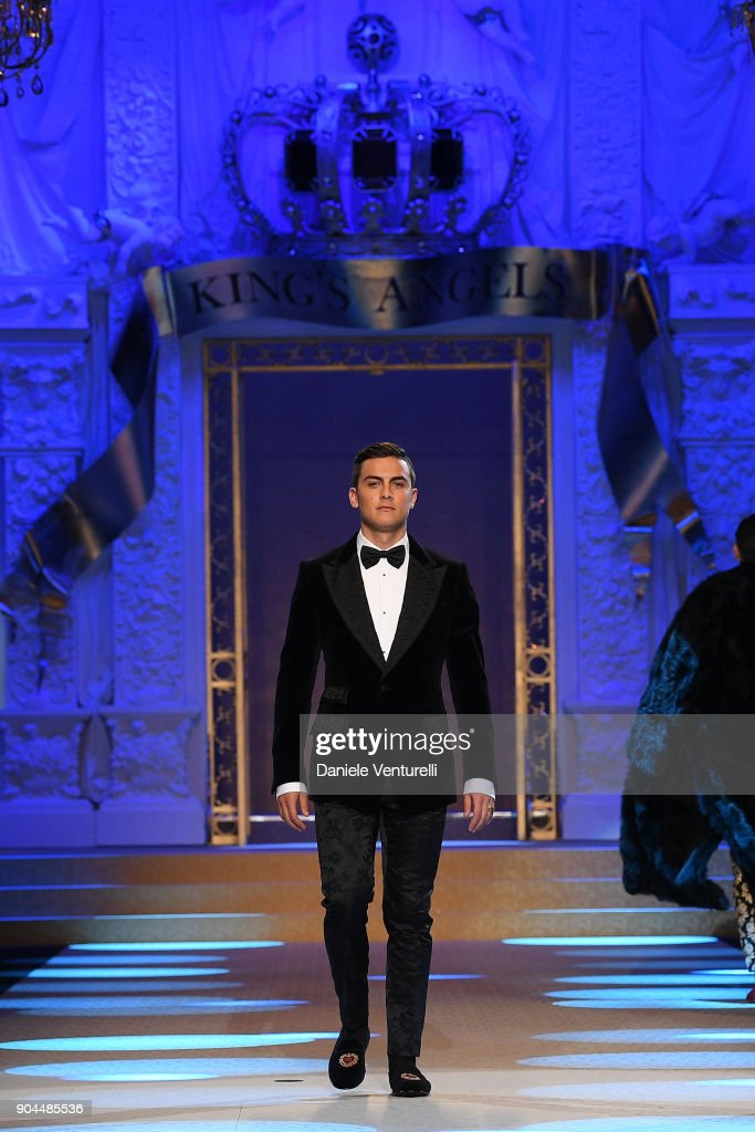 Paulo Dybala walks the runway at the Dolce & Gabbana show during Milan Men's Fashion Week Fall/Winter 2018/19 on January 13, 2018 in Milan, Italy.
