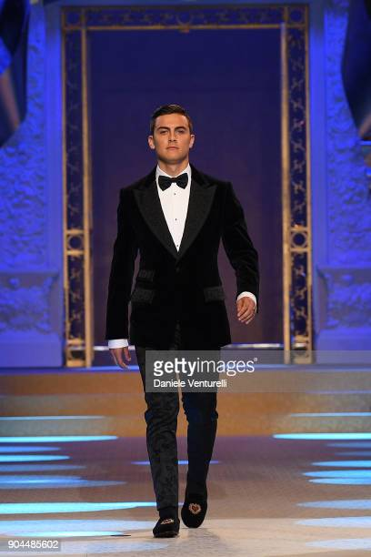 Paulo Dybala walks the runway at the Dolce Gabbana show during Milan Men's Fashion Week Fall/Winter 2018/19 on January 13 2018 in Milan Italy