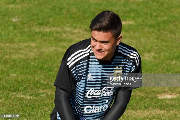 Paulo Dybala warms up during a training session open to the public as part of the team preparation for FIFA World Cup Russia 2018 at Tomas Adolfo...