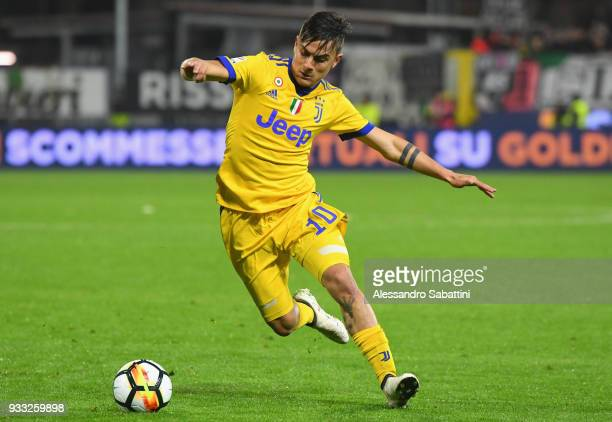 Paulo Exequiel Dybala of Juventus in action during the serie A match between Spal and Juventus at Stadio Paolo Mazza on March 17 2018 in Ferrara Italy