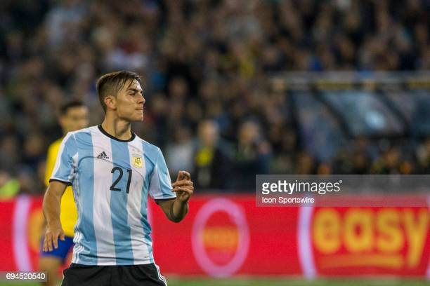 Paulo Ezequiel Dybala of the Argentinan National Football Team contemplates what could have been during the International Friendly Match Between...