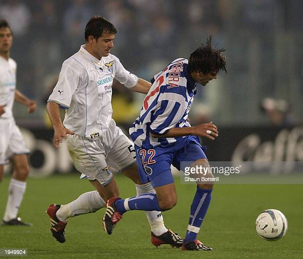 Paulo Ferreira of Porto is challenged by Stankovic of Lazio during the Lazio v Porto semi final 2nd leg UEFA Cup match on April 24 2003 at the...