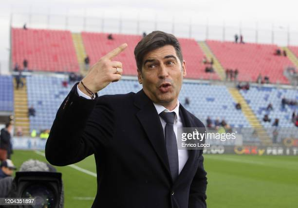 Paulo Fonseca coach of Roma looks on during the Serie A match between Cagliari Calcio and AS Roma at Sardegna Arena on March 1 2020 in Cagliari Italy