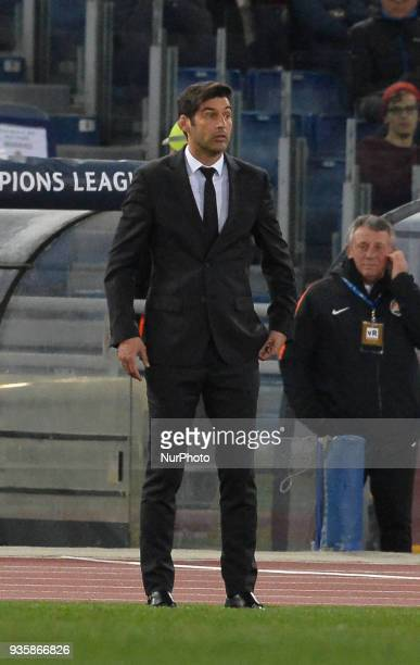 Paulo Fonseca during the Champions League football match AS Roma vs Shakhtar Donetsk at the Olympic Stadium in Rome on march 13 2018