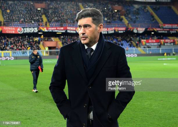 Paulo Fonseca head coach of AS Roma during the Serie A match between Genoa CFC and AS Roma at Stadio Luigi Ferraris on January 19 2020 in Genoa Italy