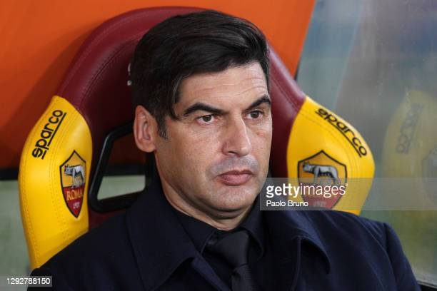 Paulo Fonseca, head coach of Roma looks on ahead of the Serie A match between AS Roma and Cagliari Calcio at Stadio Olimpico on December 23, 2020 in...