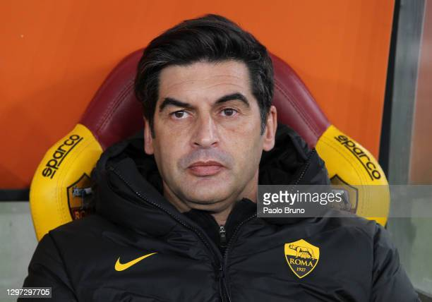 Paulo Fonseca, Head Coach of Roma looks on during the Coppa Italia match between AS Roma and AC Spezia at Olimpico Stadium on January 19, 2021 in...