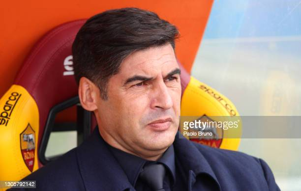Paulo Fonseca, Head Coach of Roma looks on prior to the Serie A match between AS Roma and Genoa CFC at Stadio Olimpico on March 07, 2021 in Rome,...