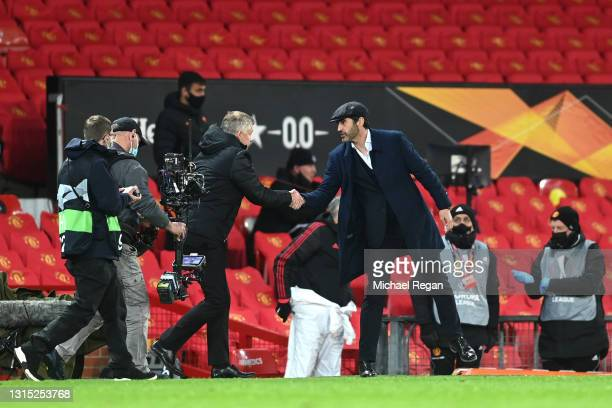 Paulo Fonseca, Head Coach of Roma shakes hands with Ole Gunnar Solskjaer, Manager of Manchester United following the UEFA Europa League Semi-final...