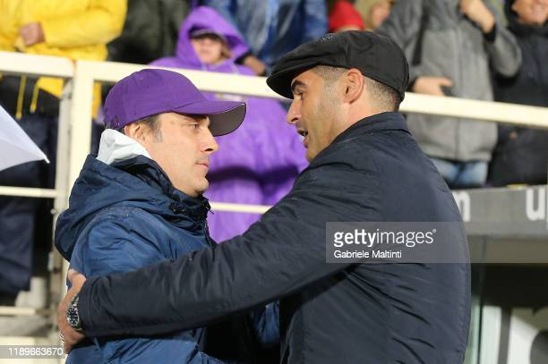 Paulo Fonseca manager of AS Roma and Vincenzo Montela manager of ACF Fiorentina during the Serie A match between ACF Fiorentina and AS Roma at Stadio...