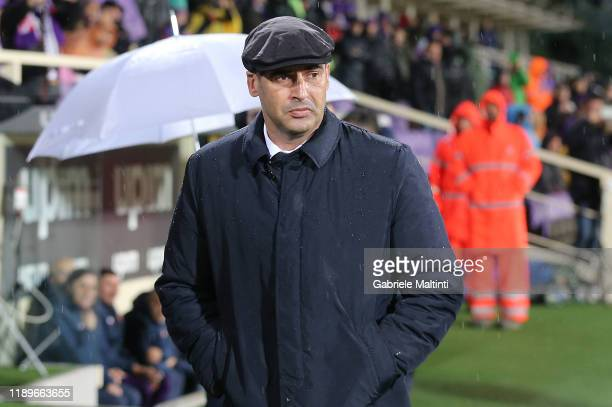 Paulo Fonseca manager of AS Roma looks on during the Serie A match between ACF Fiorentina and AS Roma at Stadio Artemio Franchi on December 22 2019...