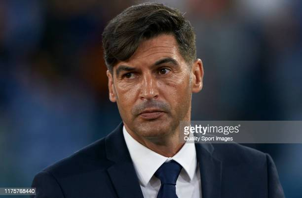 Paulo Fonseca Manager of Roma looks on prior to the UEFA Europa League group J match between AS Roma and Istanbul Basaksehir FK at Stadio Olimpico on...