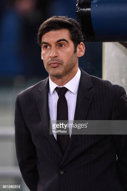 Paulo Fonseca manager of Shakhtar Donetsk during the UEFA Champions League Round of 16 match between Roma and Shakhtar Donetsk at Stadio Olimpico...