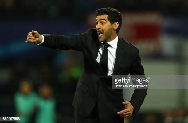 Paulo Fonseca Manager of Shakhtar Donetsk gives his team instructions during the UEFA Champions League group F match between Feyenoord and Shakhtar...