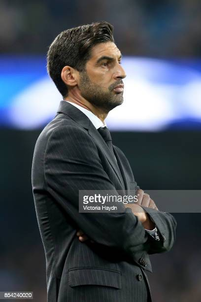 Paulo Fonseca Manager of Shakhtar Donetsk looks on during the UEFA Champions League Group F match between Manchester City and Shakhtar Donetsk at...