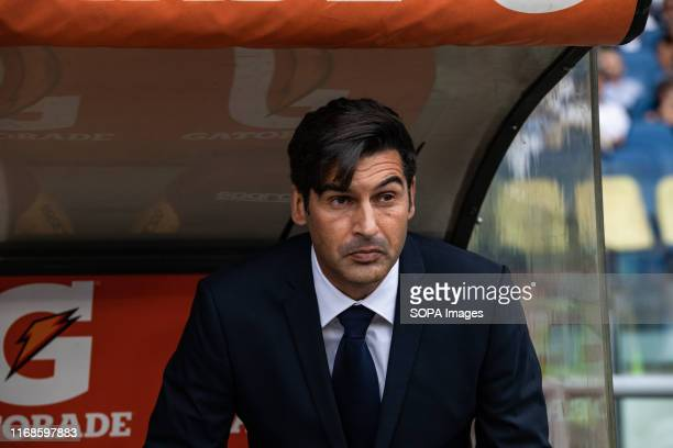 Paulo Fonseca of As Roma during the Serie A match between AS Roma and Sassuolo at Olimpico Stadium