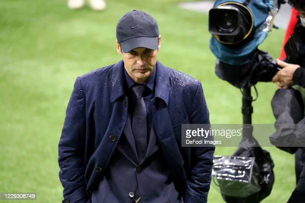 Paulo Fonseca of AS Roma looks on during the Serie A match between AC Milan and AS Roma at Stadio Giuseppe Meazza on October 26 2020 in Milan Italy