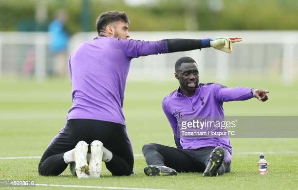 Paulo Gazzaniga and Davinson Sanchez of Tottenham Hotspur during the Tottenham Hotspur training session at Tottenham Hotspur Training Centre on April...