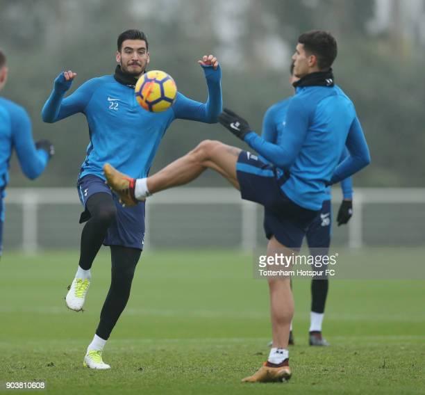 Paulo Gazzaniga and Erik Lamela of Tottenham Hotspur during the Tottenham Hotspur training session at Tottenham Hotspur Training Centre on January 11...