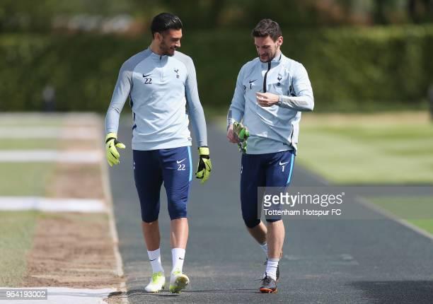 Paulo Gazzaniga and Hugo Lloris of Tottenham Hotspur during the Tottenham Hotspur training session at Tottenham Hotspur Training Centre on May 3 2018...