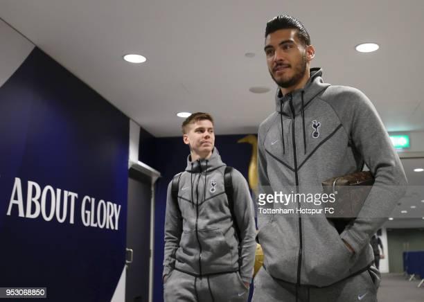 Paulo Gazzaniga and Juan Foyth of Tottenham Hotspur arrive during the Premier League match between Tottenham Hotspur and Watford at Wembley Stadium...