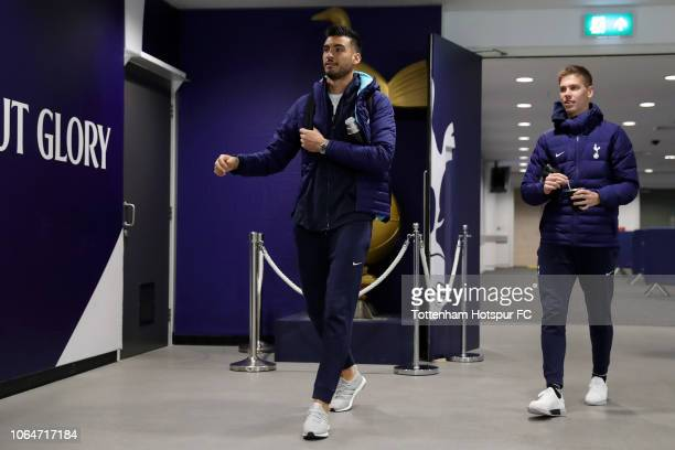 Paulo Gazzaniga and Juan Foyth of Tottenham Hotspur during the Premier League match between Tottenham Hotspur and Chelsea FC at Tottenham Hotspur...