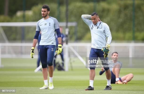 Paulo Gazzaniga and Michel Vorm of Tottenham Hotspur during the Tottenham Hotspur training session at Tottenham Hotspur Training Centre on May 11...