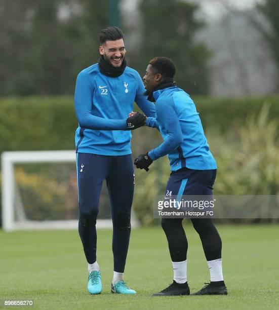 Paulo Gazzaniga and Serge Aurier of Tottenham Hotspur during the Tottenham Hotspur training session at Tottenham Hotspur Training Centre on December...