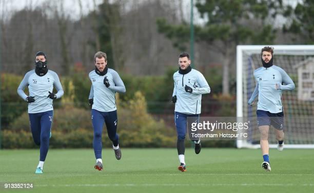 Paulo Gazzaniga Harry Kane Hugo Lloris and Fernando Llorente during the Tottenham Hotspur training session at Tottenham Hotspur Training Centre on...