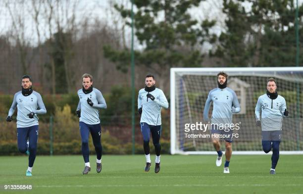 Paulo Gazzaniga Harry Kane Hugo Lloris Fernando Llorente and Christian Eriksen of Tottenham Hotspur during the Tottenham Hotspur training session at...