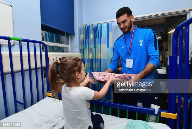 Paulo Gazzaniga meets a young patient during a Tottenham Hotspur player visit at Whipps Cross Hospital on December 21 2017 in London England