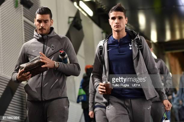 Paulo Gazzaniga of Erik Lamela of Tottenham Hotspur arrive ahead the UEFA Champions League Round of 16 First Leg match between Juventus and Tottenham...