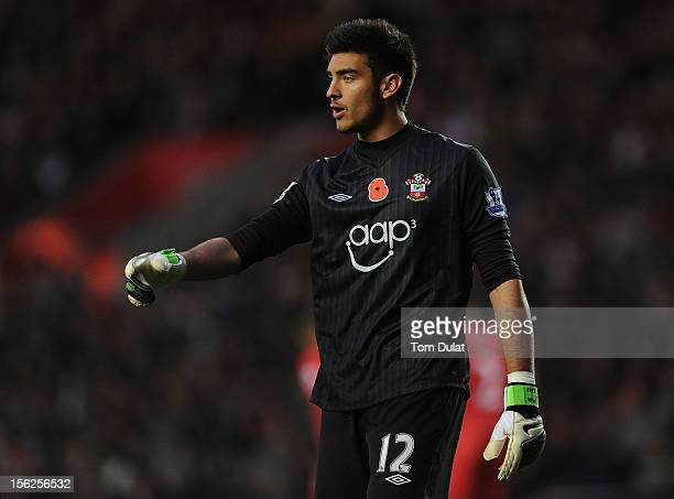 Paulo Gazzaniga of Southampton during the Barclays Premier League match between Southampton and Swansea City at St Mary's Stadium on November 10 2012...