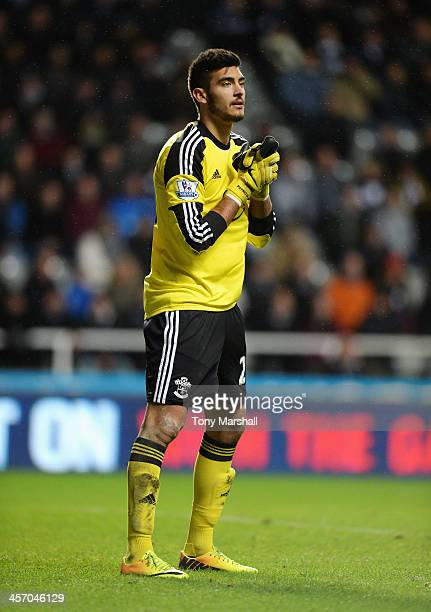 Paulo Gazzaniga of Southampton during the Barclays Premier League match between Newcastle United and Southampton at St James' Park on December 14...